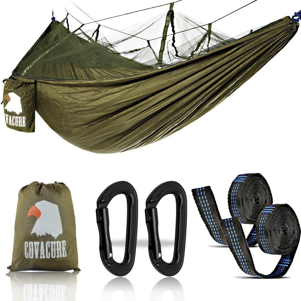 Amaca ,2persone amaca Outdoor con zanzariera Ultra Leggero, traspirante, ad asciugatura rapida paracadute Nylon Campeggio Amaca per Trekking, Viaggio, Spiaggia, Giardino–440lbs capacità COVACURE