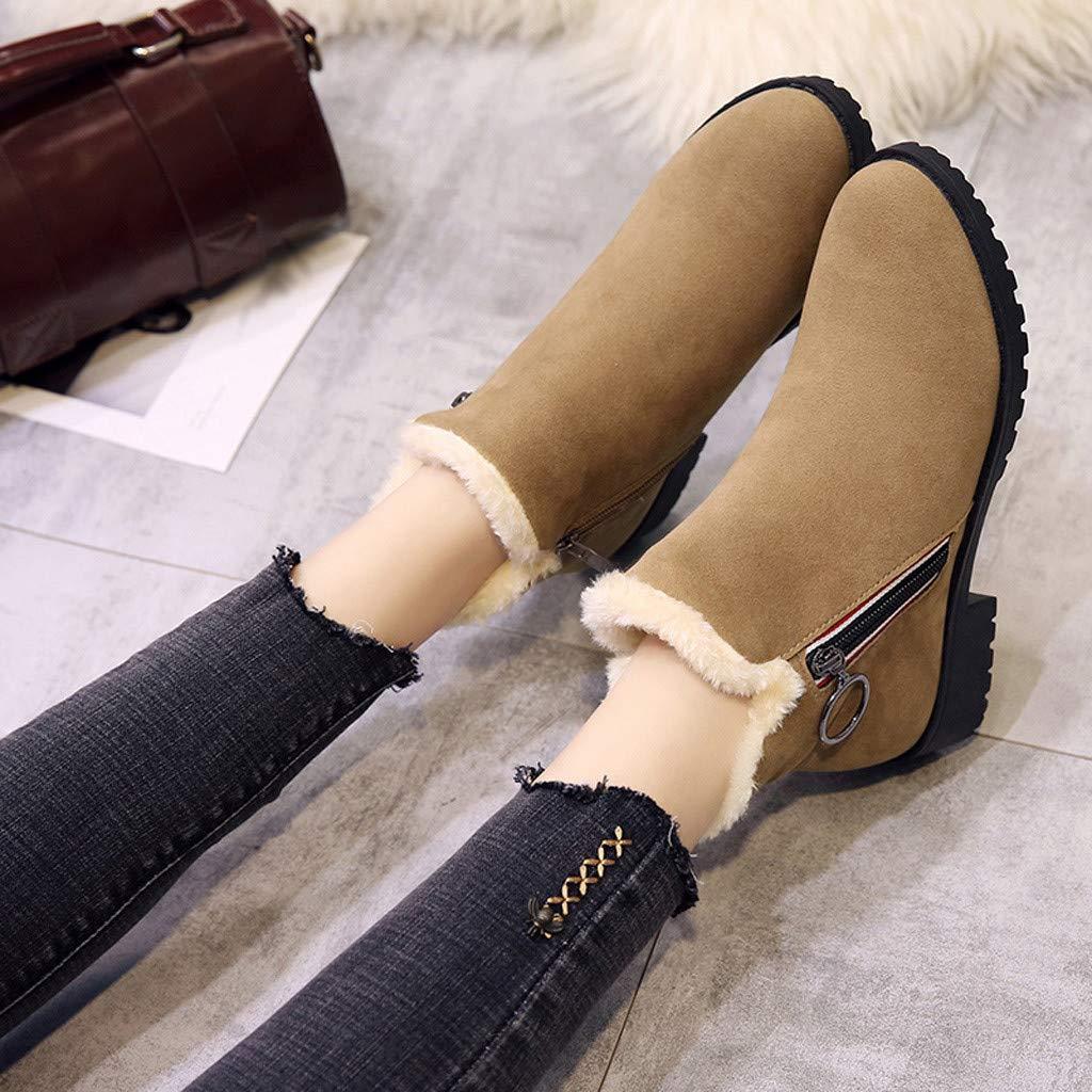 Tootu Women Suqare Heels Zipper Suede Keep Warm Snow Boots Round Toe Shoes TT-2123