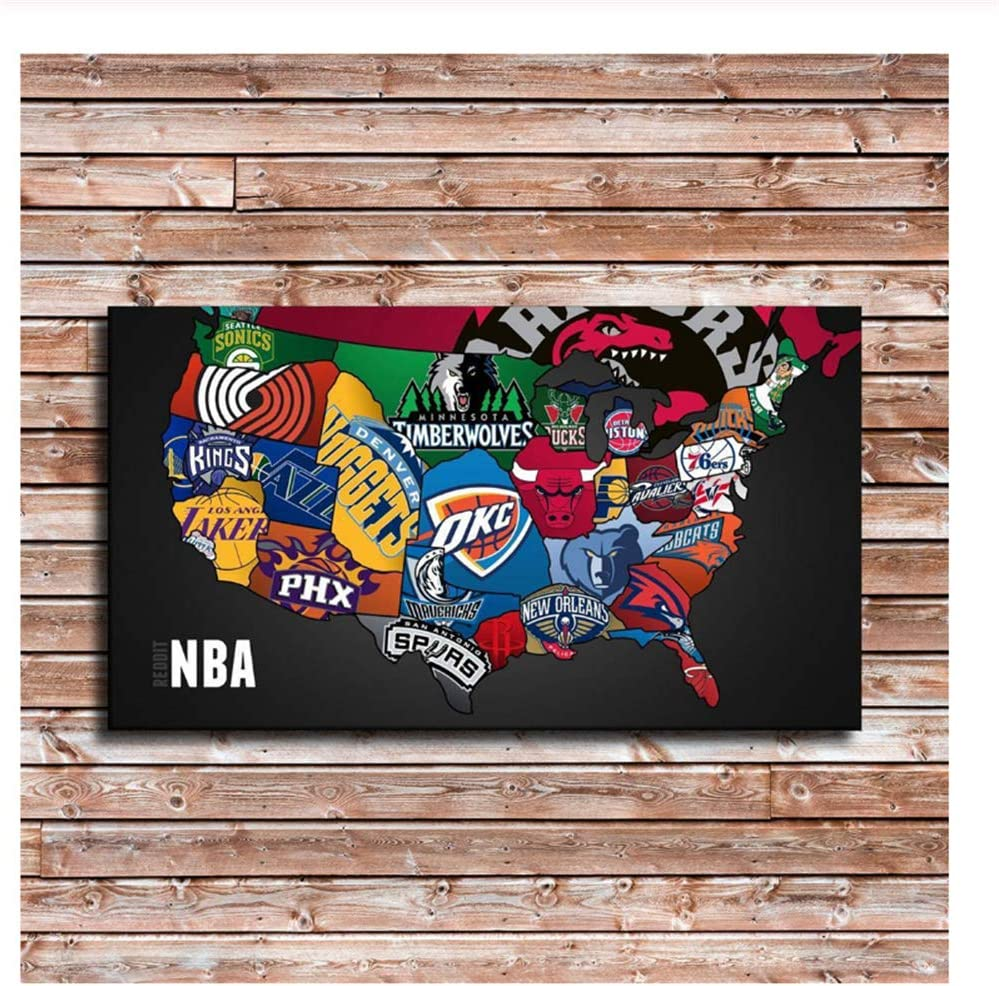 Nba Team Logos Nba Teams Map Paintings Print On Canvas Hd Abstract Canvas Painting Office Wall Art Home Decor Wall Pictures 50x70cm No Frame Amazon Ca Generic