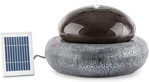 blumfeldt Ocean Planet Solar Fountain Water Feature Ornamental Fountain Garden Fountain 200 l/h Solar Panel 2 Watts LED Extra-Long Connecting Cables Polyresin Pale Black
