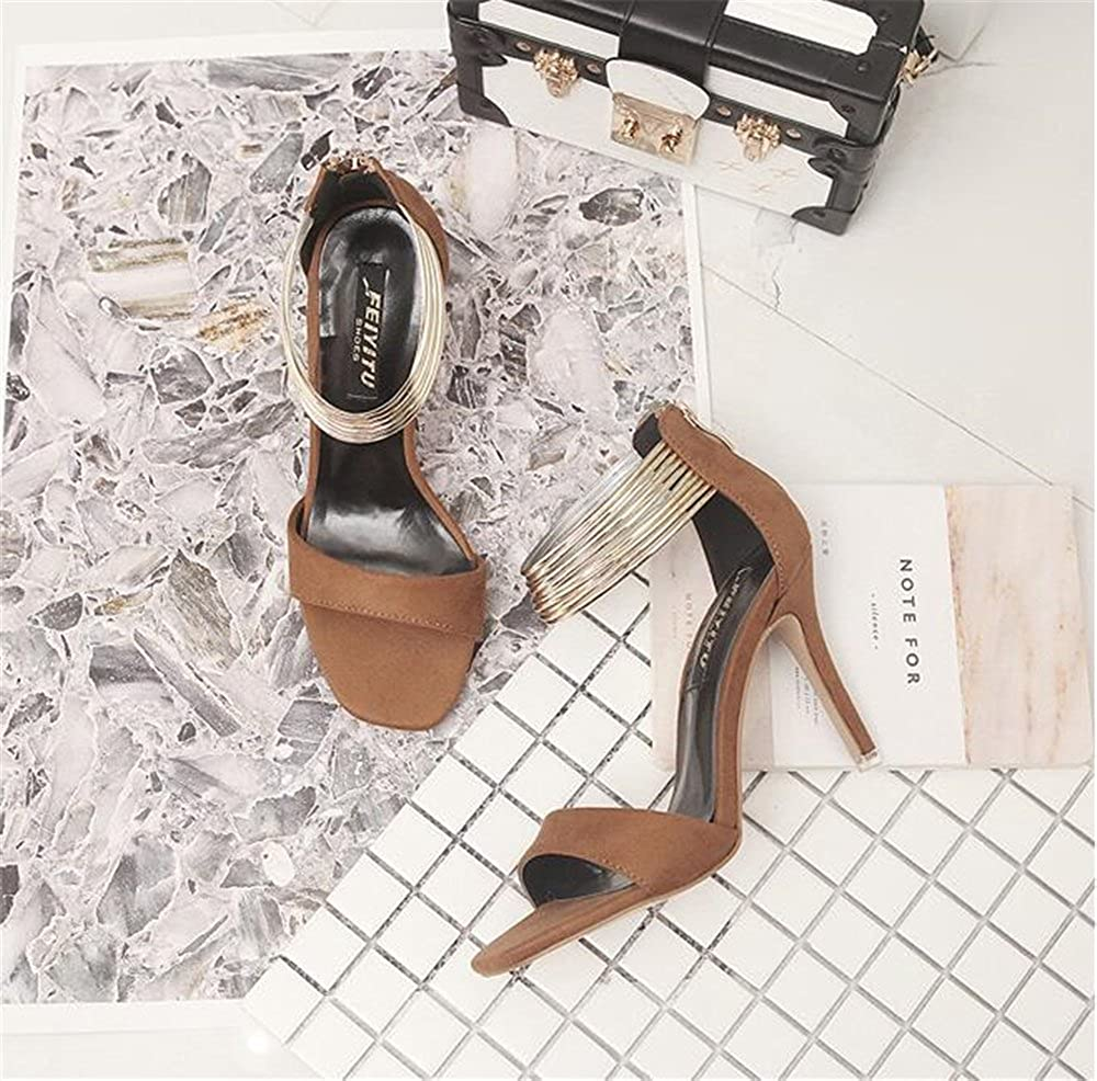 f3ffd2647 ... eleganceoo Women s Open Toe Toe Toe Metal Ankle Strap Stiletto High  Heel Sandal Comfortable Shoes 39 ...