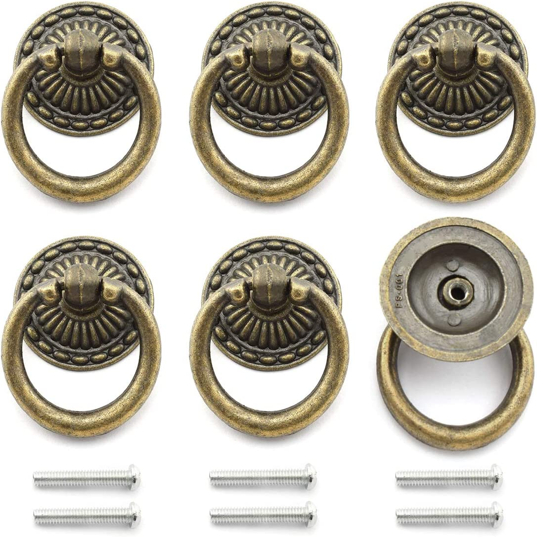 DTTRA 6pcs Antique Bronze Knobs Pulls Handles Antique Drawer Pull Ring Single Hole Decorative Hardware with Screws for Furniture Cabinet Cupboard Dresser