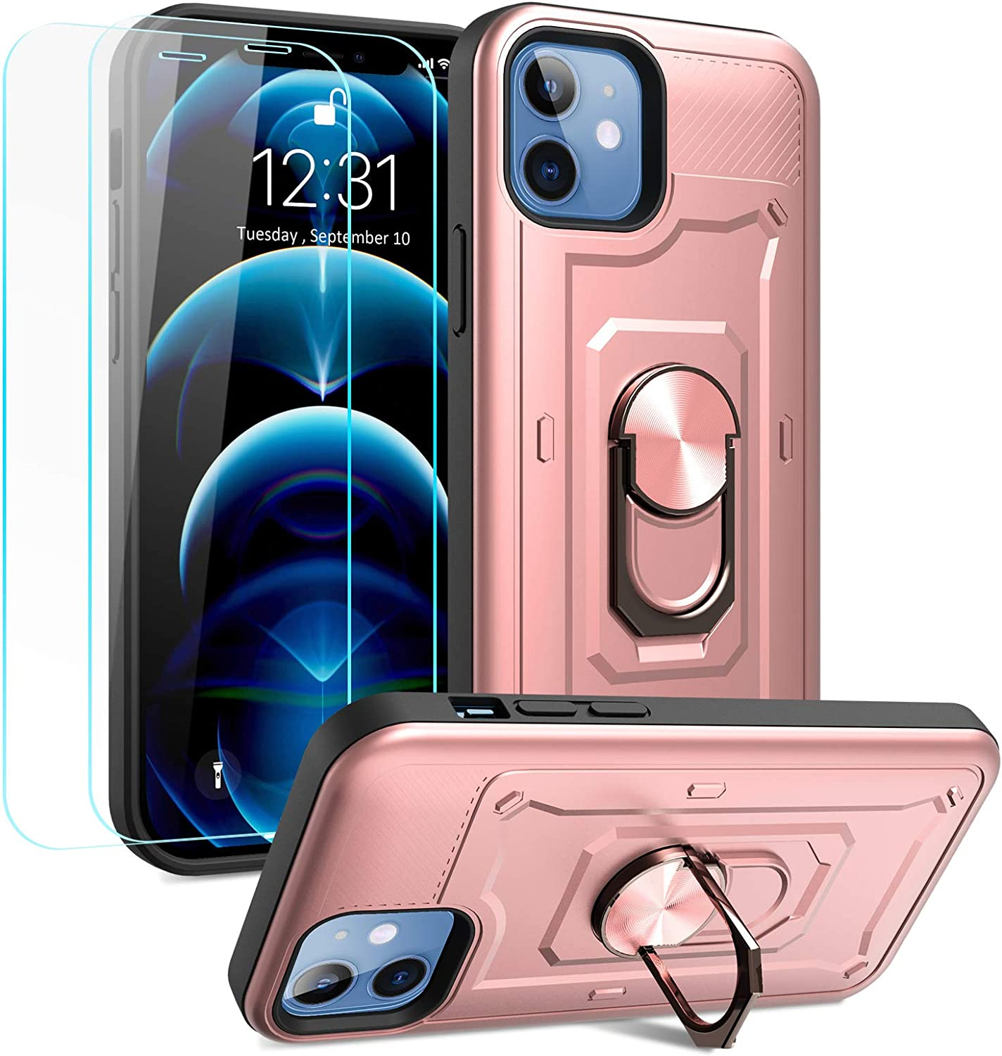 MMHUO Compatible with iPhone 12 & 12 Pro Case with Screen Protector, Soft TPU & Hard PC Hybrid Full Protection Armor Metal Ring Buckle Kicktand Case Compatible with iPhone 12/Pro 6.1 inch, Rose Gold