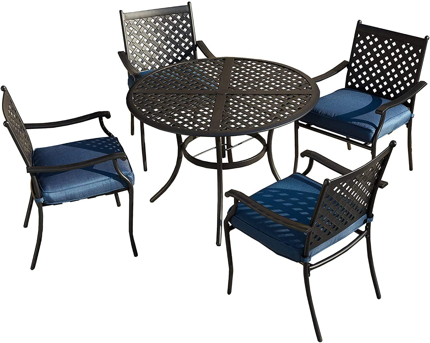 LOKATSE HOME 5-Piece Outdoor Patio Metal Dining Set with Iron Armrest Cushioned Chairs and Steel Round Table with Umbrella Hole, Blue