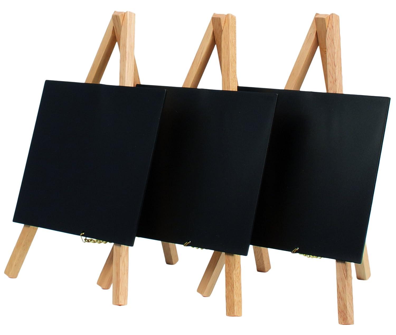 Securit - Mini lavagna da tavolo con cavalletto, smaltata, confezione da 3 pezzi, 15 x 13 cm (lavagna), monocromatico Vermes MNI-B-KR