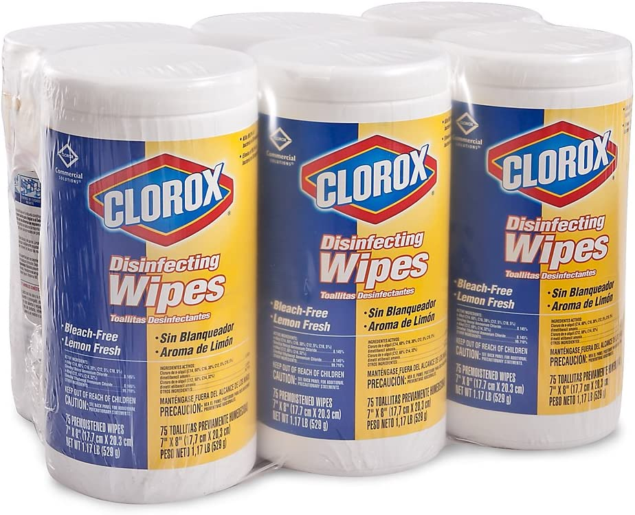 Clorox Disinfecting Wipes - Lemon Scent - Case of 6 Canisters: Home & Kitchen