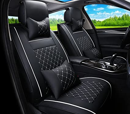 Fly5D 2Pcs Front Seats Cover Easy To Clean PU Leather Car Seat Cushions Universal Fit