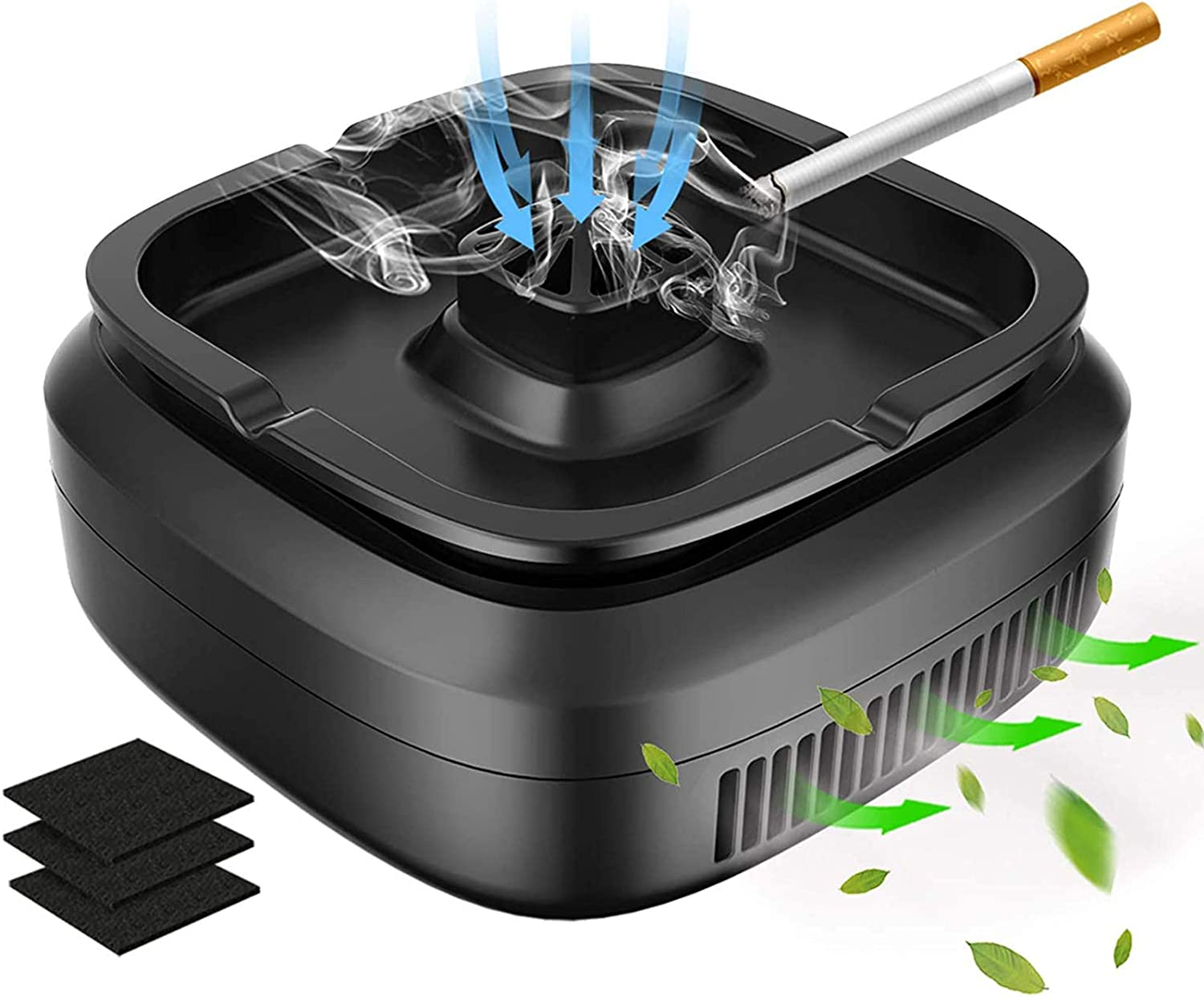 Multifunctional Smokeless Ashtray for Cigarette Smoker, USB Rechargeable Smoke Grabber Ash Tray for Indoor Outdoor Home Office Car, Great for Smoker