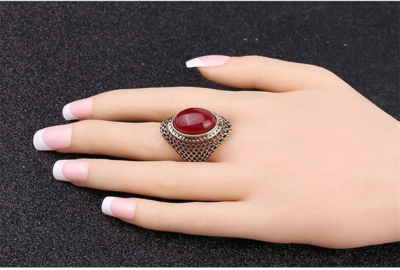 spyman Black Red Stones Gems Rings Luxury Beautiful Jewelry Retro Style Round Glass Ring A2309