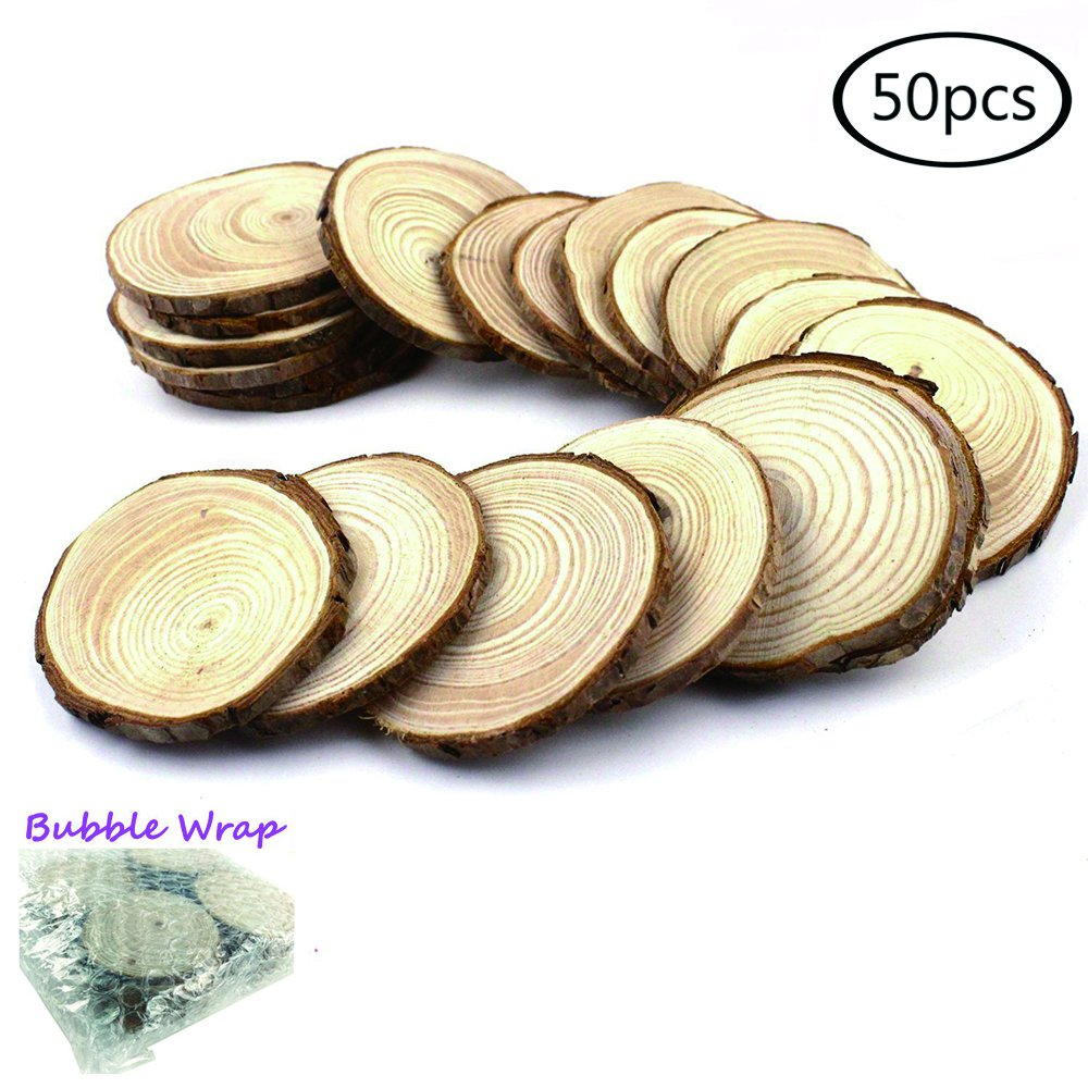 Goodlucky 50pcs 2''-2.5'' Unfinished Natural Wood Slices Circles with Tree Bark Log Discs
