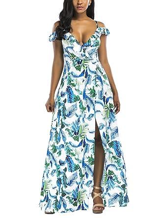 Romacci Women s Strap Ruffle Cold Shoulder Floral Print Wrap Maxi Dress  High Slit Long Dress at Amazon Women s Clothing store  46584254c