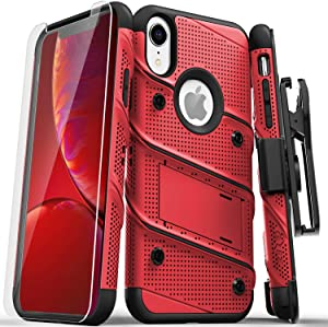 ZIZO Bolt Series for iPhone XR Case with Screen Protector Kickstand Holster Lanyard - Red & Black
