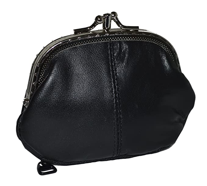 014854d80fb Coin Purse Double Frame with Zipper Pocket (Black) at Amazon Women s ...