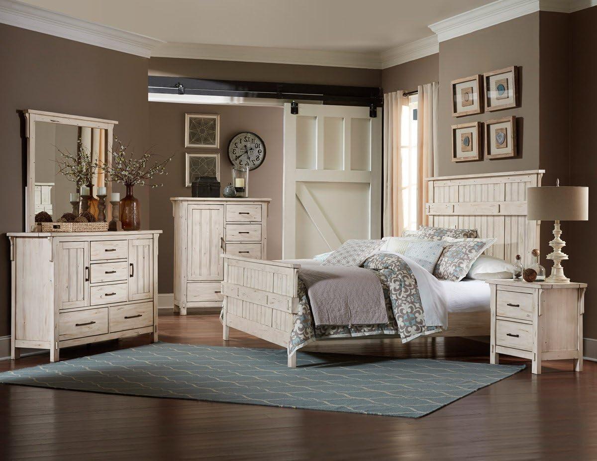 HEFX Thomasville 5 Piece Queen Weathered White Bedroom Set - Bed, 2  Nightstand, Dresser & Mirror