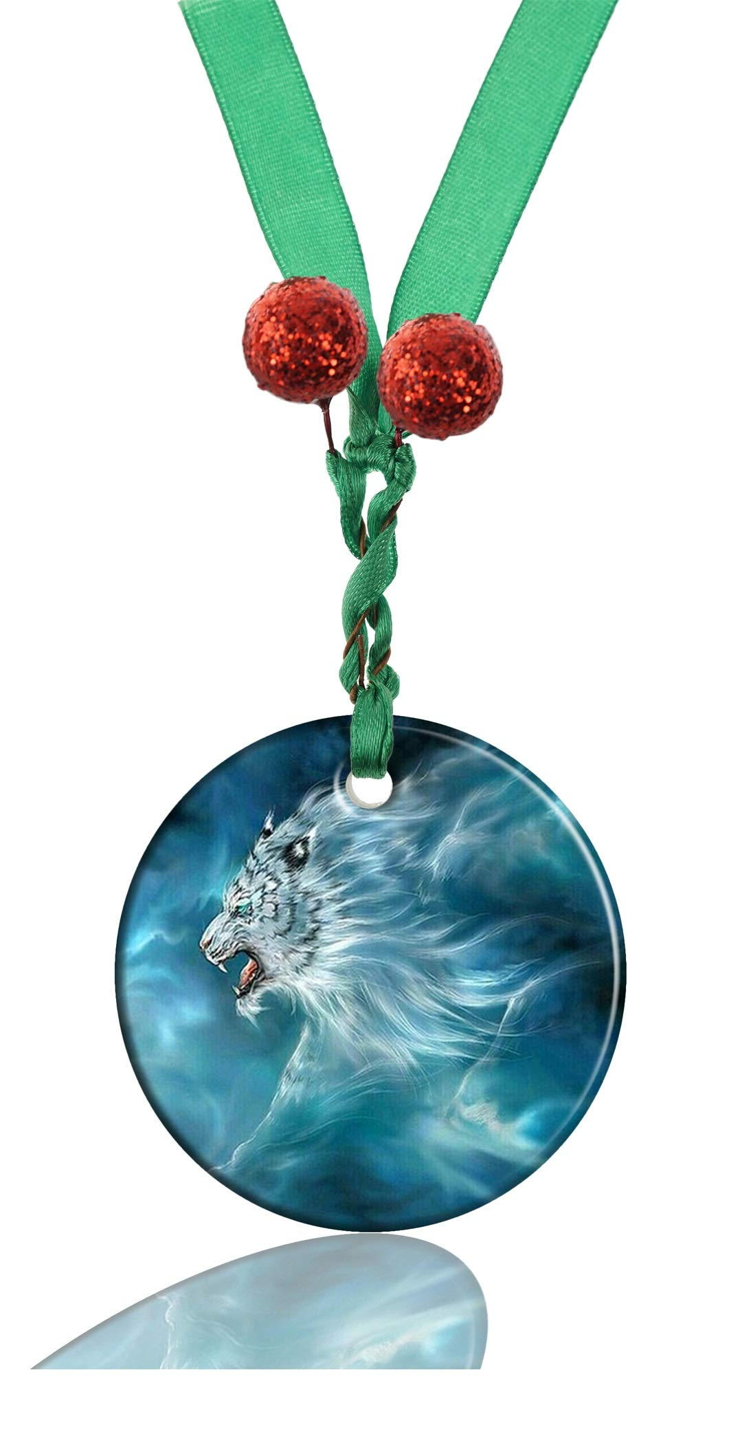 GDEE Custom Animal Tiger Personalized Round Porcelain Ornaments Christmas Ornaments Home Decoration