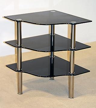 3 Shelf Corner Unit With Glass Table Top And Chrome Legs, Telephone Corner  Unit,