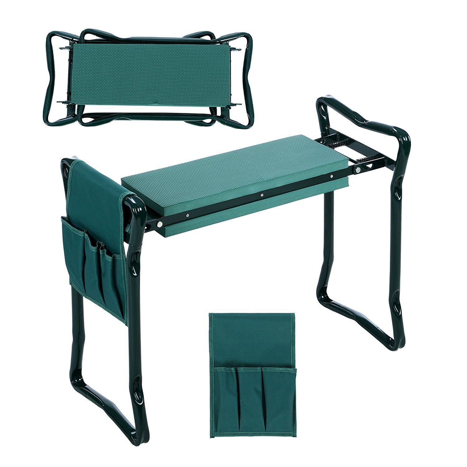 VIMOA Garden Kneeler Wave Pad and Folding Light Weight Steel Seat with Tool Pouch 2 in 1 Style