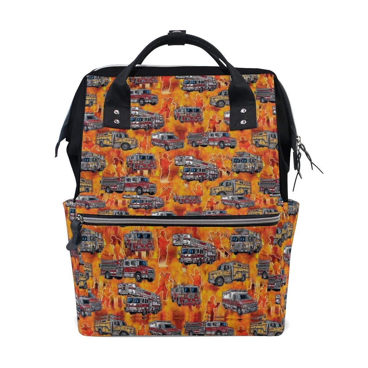 消防車 オレンジ おむつバッグ バックパック 大容量 多機能 旅行バックパック お昼寝バッグ 旅行 ママ バックパック ベビーケア用   B07M6F5D7L