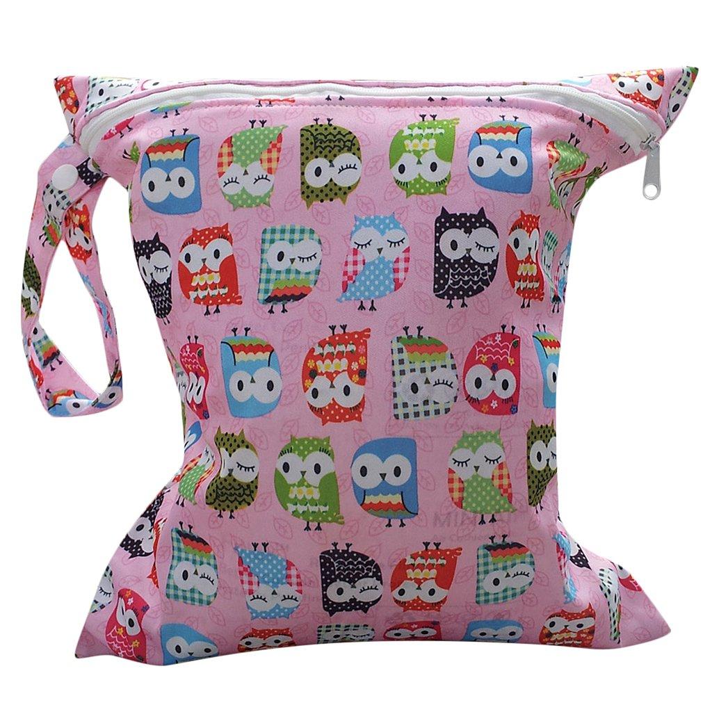 Bolsa de Pañales Reutilizable Bolsa con Cremallera Impermeable para mamá con Dibujo de Búho product image