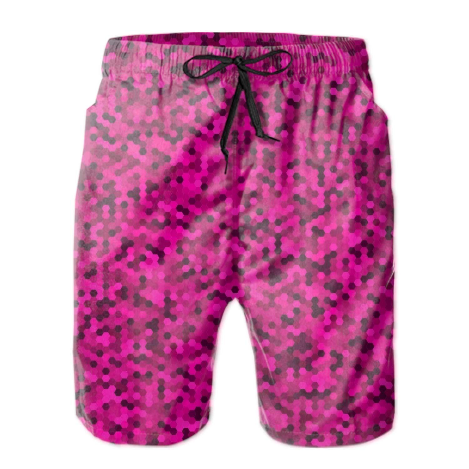 Men Cells Line Summer Breathable Quick-Drying Swim Trunks Beach Shorts Board Shorts