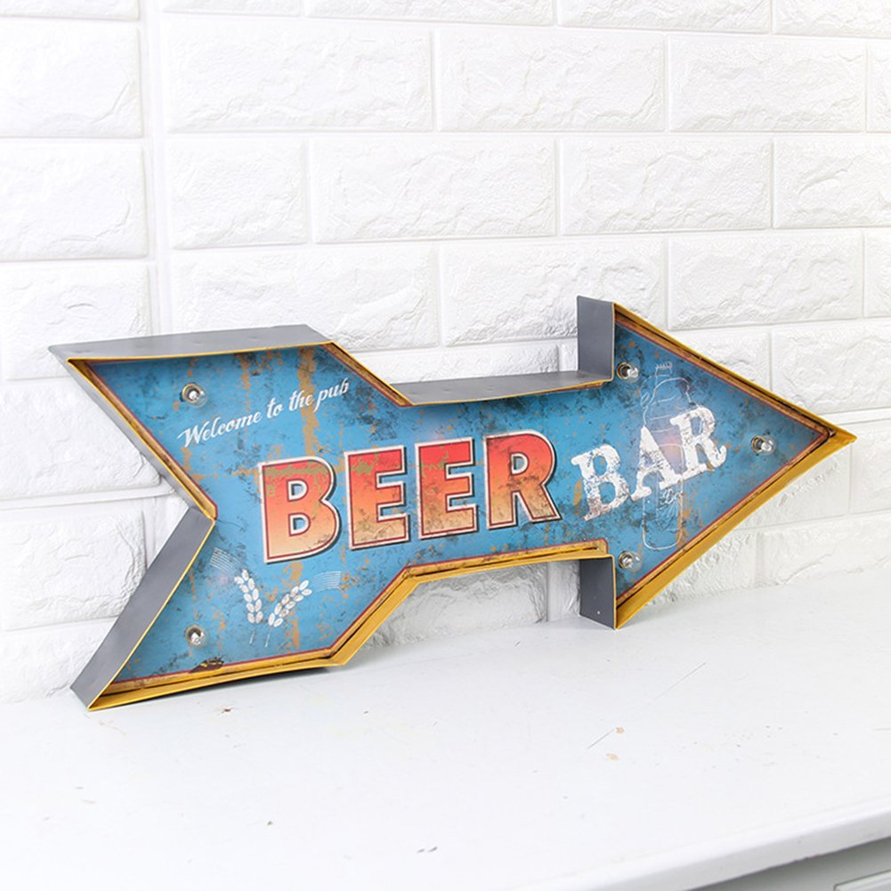 Amazon.com: ZEKUI LED Beer Signs Tin Metal Cafe Bar Decoration ...