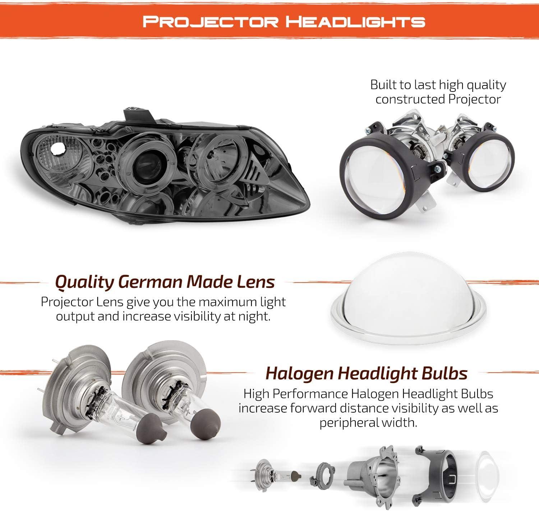 For Smoked 04-06 Pontiac GTO Twin Halo LED Pro Headlights Smoke Head Lights