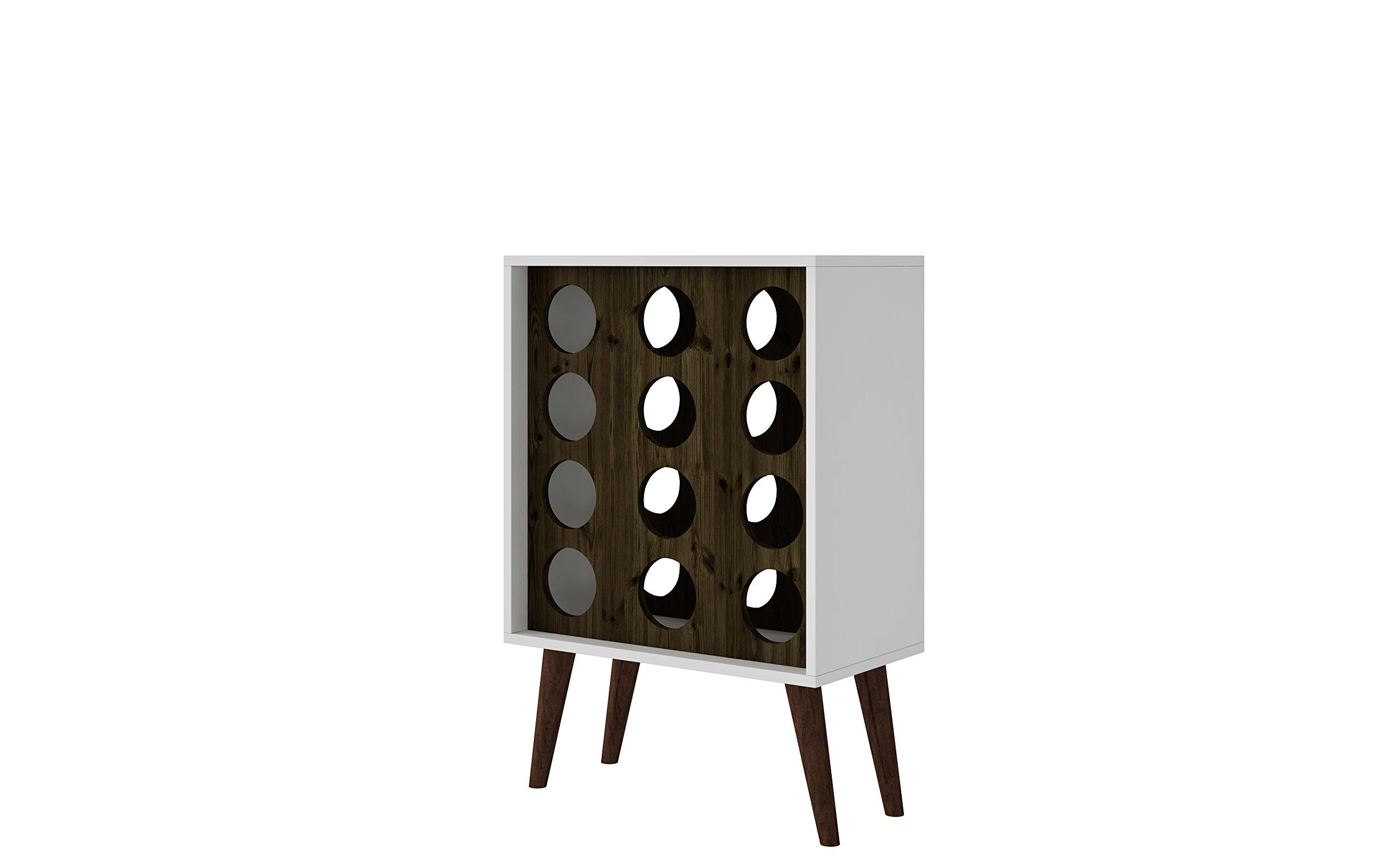 Manhattan Comfort Lund Collection Modern Square Design Reclaimed Wine Bar Cabinet, Holds 12 Bottles, White/Wood
