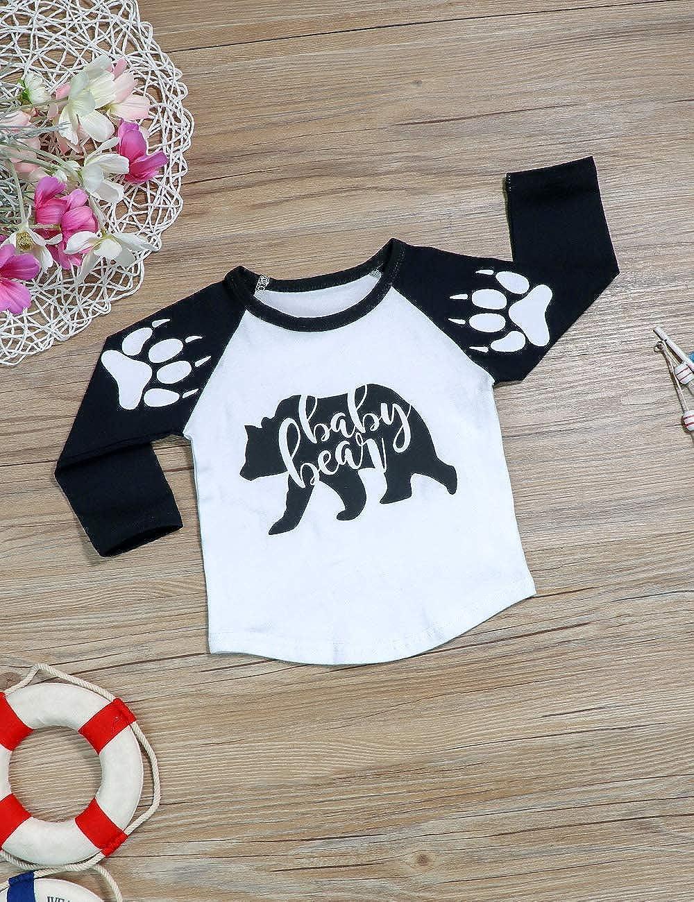 Ttkgyoe Baby Jungen Kleidung Set B/är gedruckt Hose Hose Top Langarm Rundhals Shirt zweiteiliges Outfit Set