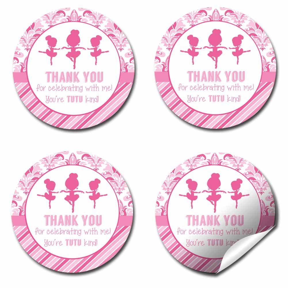 Dance & Twirl Pink Ballerina Thank You Birthday Party Sticker Labels, 20 2'' Party Circle Stickers by AmandaCreation, Great for Party Favors, Envelope Seals & Goodie Bags by Amanda Creation (Image #7)
