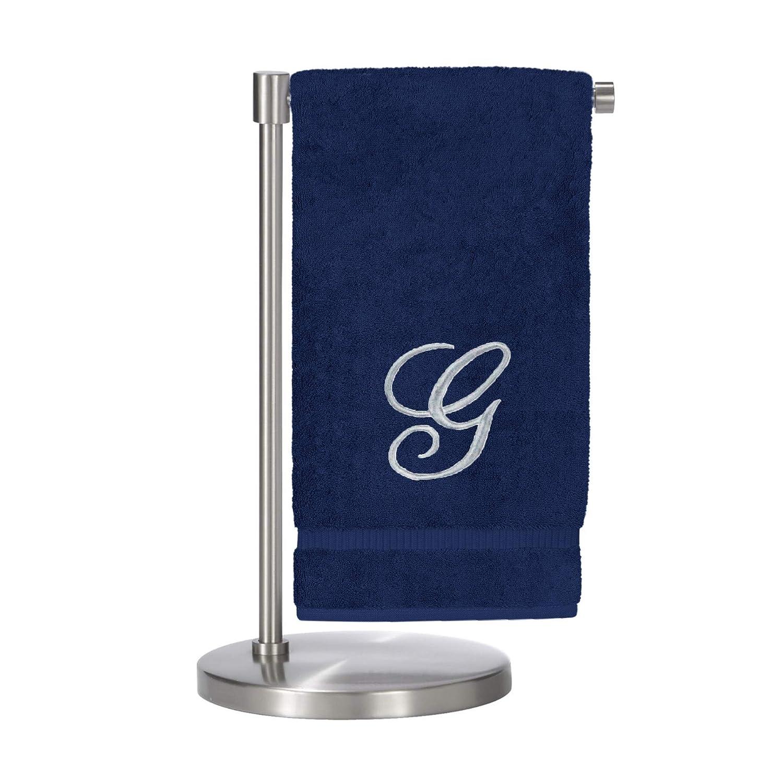 Script Initial B-Set of 2 BC BARE COTTON 85-702-852-101 Bath Towel White /& Silver