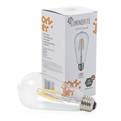 Led Bulb By Lumin Brite 4w 40w Incandescent Soft White Light Vintage Edison Light Bulb Dimmable Filament 2700k 430 Lumens E26 Energy Saving 360
