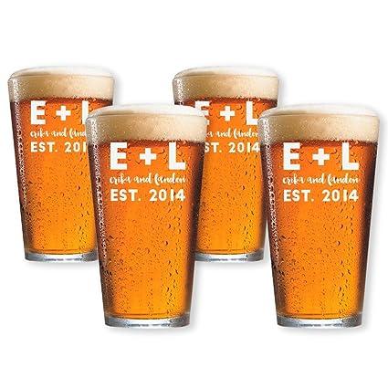 Personalizado cerveza vasos conjunto de 4 por Froolu personalizado vasos de cerveza para la inauguración de