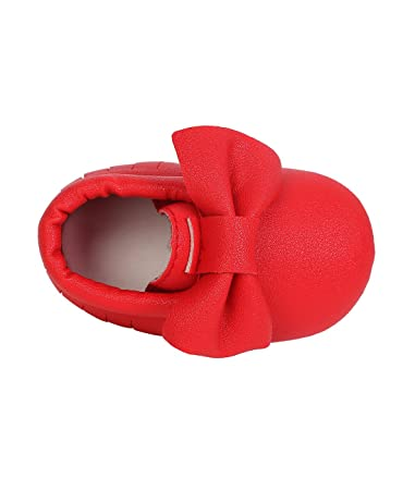 Amazon.com : DESDEMONA Bow PU Leather Baby Moccasins for Boy Girl Infant Toddler Pre-Walker Crib Shoes (XS(4.33inches), Red) : Baby