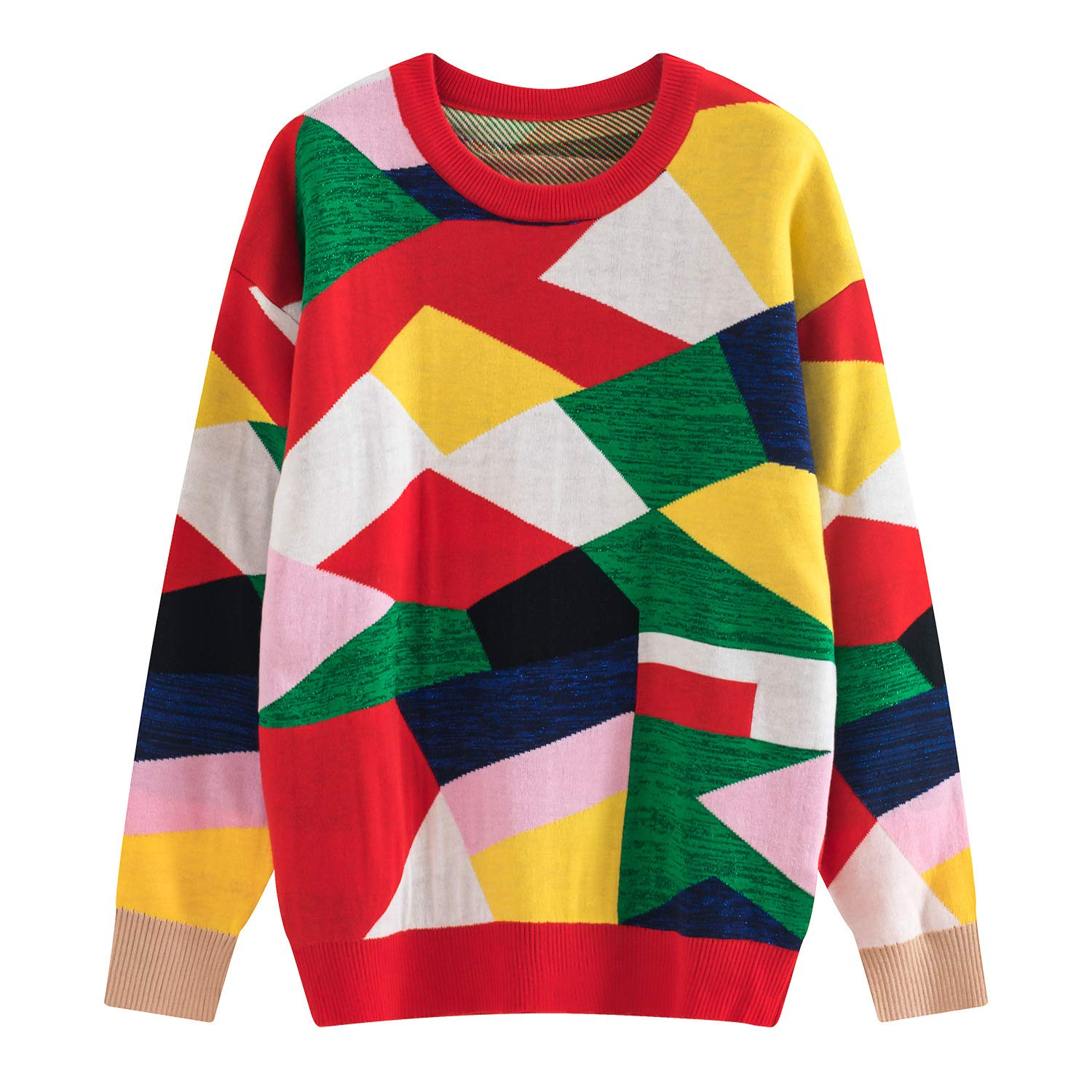 JIAKENVDE Winter Stream Collision Farbe Jigsaw Puzzle Geometric Piece Figure Round Neck Pullover Knit Sweater Female Y