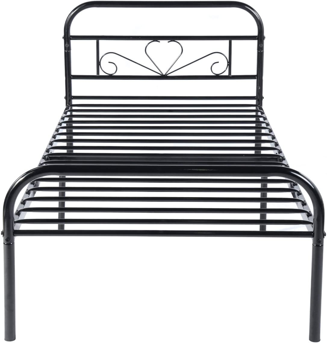 GreenForest Twin Bed Frame Metal Platform Mattress Base Black Bed with Vintage Headboard Box Spring Replacement, Twin