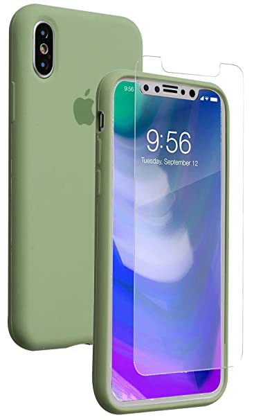 I Phone X Case, Soft Liquid Silicone Phone Case With [Free Tempered Transparent Glass Screen Protector] Gel Rubber Shockproof Cover Full Protective Case For Apple I Phone X (Green) by Monca
