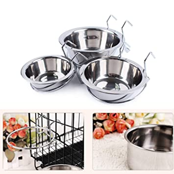 Amazon.com: Gozier Hanging Pet Bowl Cup, Stainless Steel ...