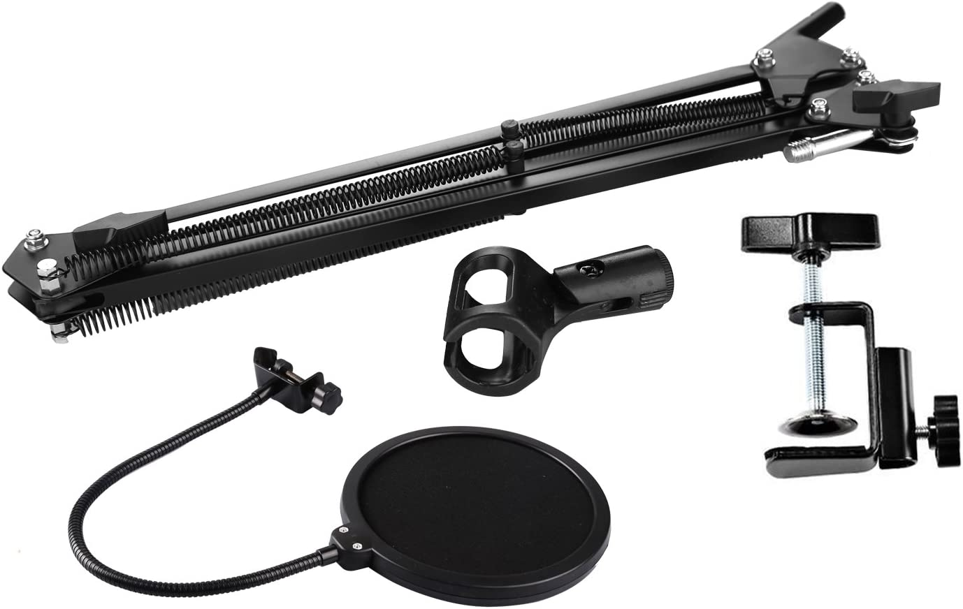 B-Qtech Set of Microphone Suspension Boom Scissor Arm and Pop Filter Desktop Mounted Stand for Music Recording Studio Broadcasting