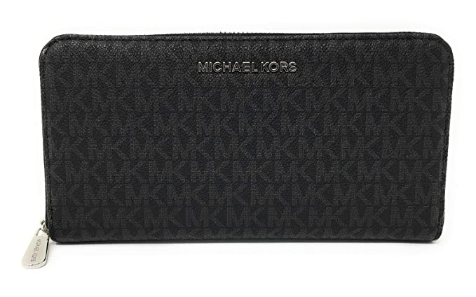 ee1436ecc0c6 Michael Kors Jet Set Continental Travel Wallet with Signature Printed Logo  on Saffiano Leather (Large, Black/Silver): Amazon.co.uk: Clothing