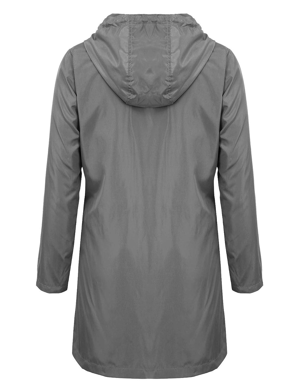 Descripción del producto. Impermeables para hombres impermeable chaqueta de  lluvia con capucha larga al aire libre ... 61b9f36ecd440