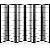 Artiss Room Divider 6 Panel Foldable Wooden Partition Privacy Screen Black