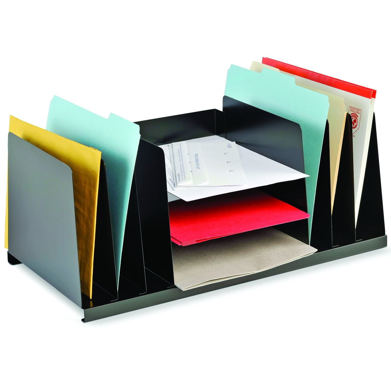 STEELMASTER Steel Combination Desk Organizer, Letter Size, 21.5 x 9.5 x 11.4 Inches, Black (2643DOBK)
