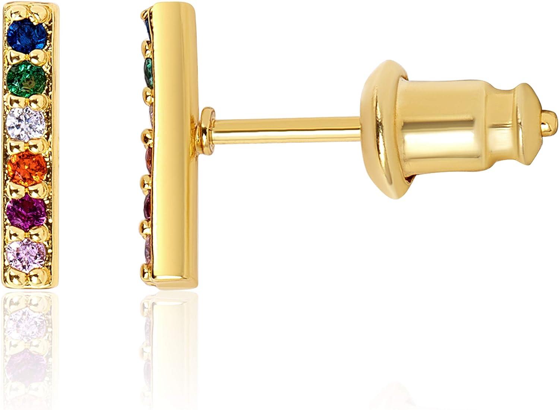 KISPER 18k Gold Plated Colorful Cubic Zirconia Cuff Stud Earrings