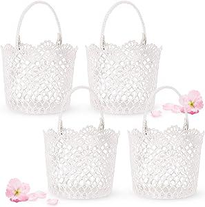 White Basket Handle Wedding Flower Girl Baskets, 5.90 x 4.72 x 4.33 Inch (4 Packs)