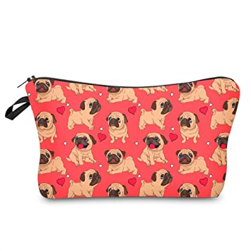 Makeup Bag Cosmetic Pouch Organizer and Toiletry Bag For Women Accessories Pugs Travel Bag