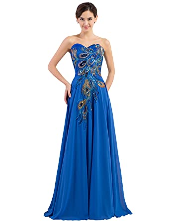 ffe8a3d1fd8 GRACE KARIN Sparkle Ball Gown Dresses Floor Length Size 10 CL6168-3 Blue
