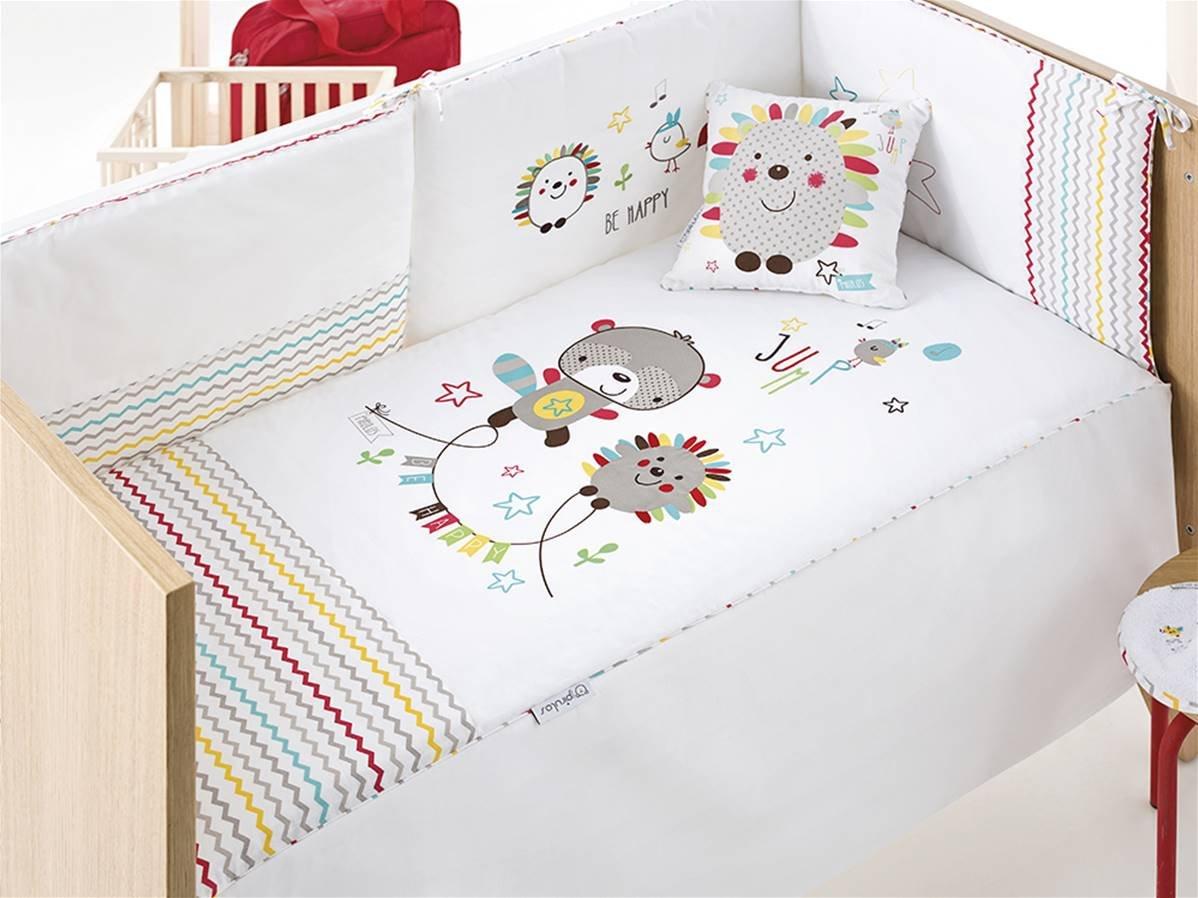 pirulos 28000510Steppdecke, Nestchen und Kissen, Motiv Espin, 72x 142cm, weiß und Leinen