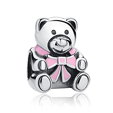 8fb0d7087 Authentic It's A Girl Teddy Bear Charm 925 Sterling Silver Charms Fit  Pandora & Other European Charm Bracelets: Amazon.co.uk: Jewellery