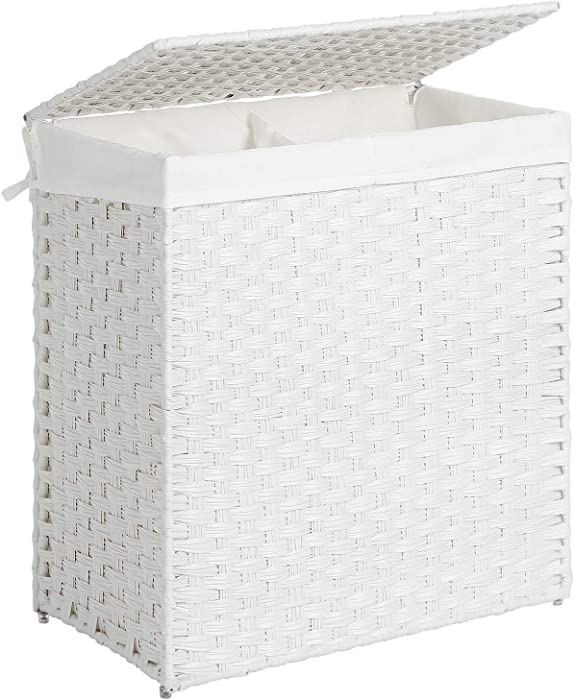 SONGMICS Divided Laundry Hamper, Handwoven Laundry Basket, Synthetic Rattan Clothes Hamper with Removable Liner Bag, White ULCB52WT