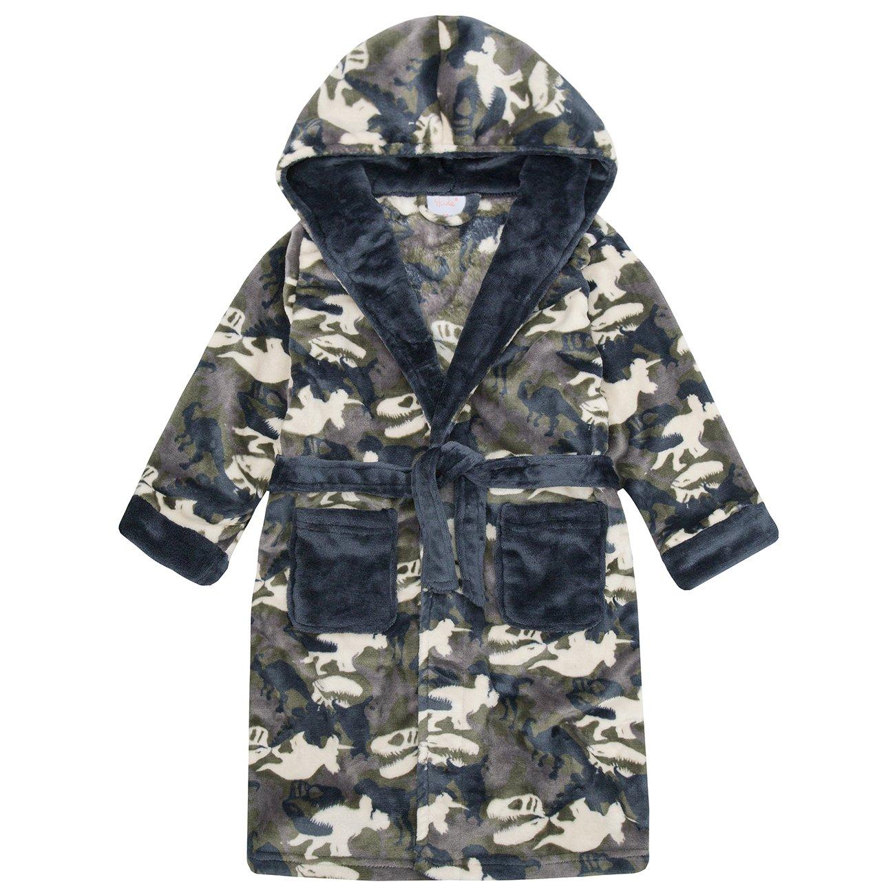 4Kidz Boys Novelty Dinosaur Camouflage Flannel Fleece Hooded Dressing Robe